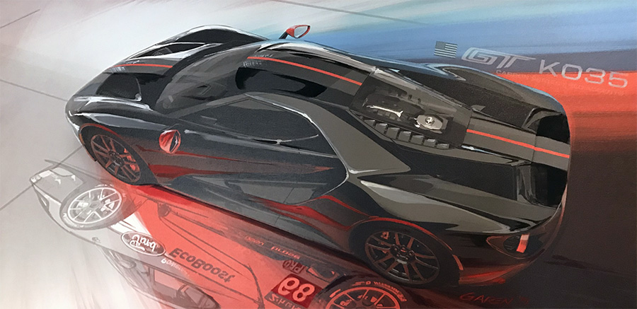 Ford GT Carbon Edition Painting by Garen Nicoghosian