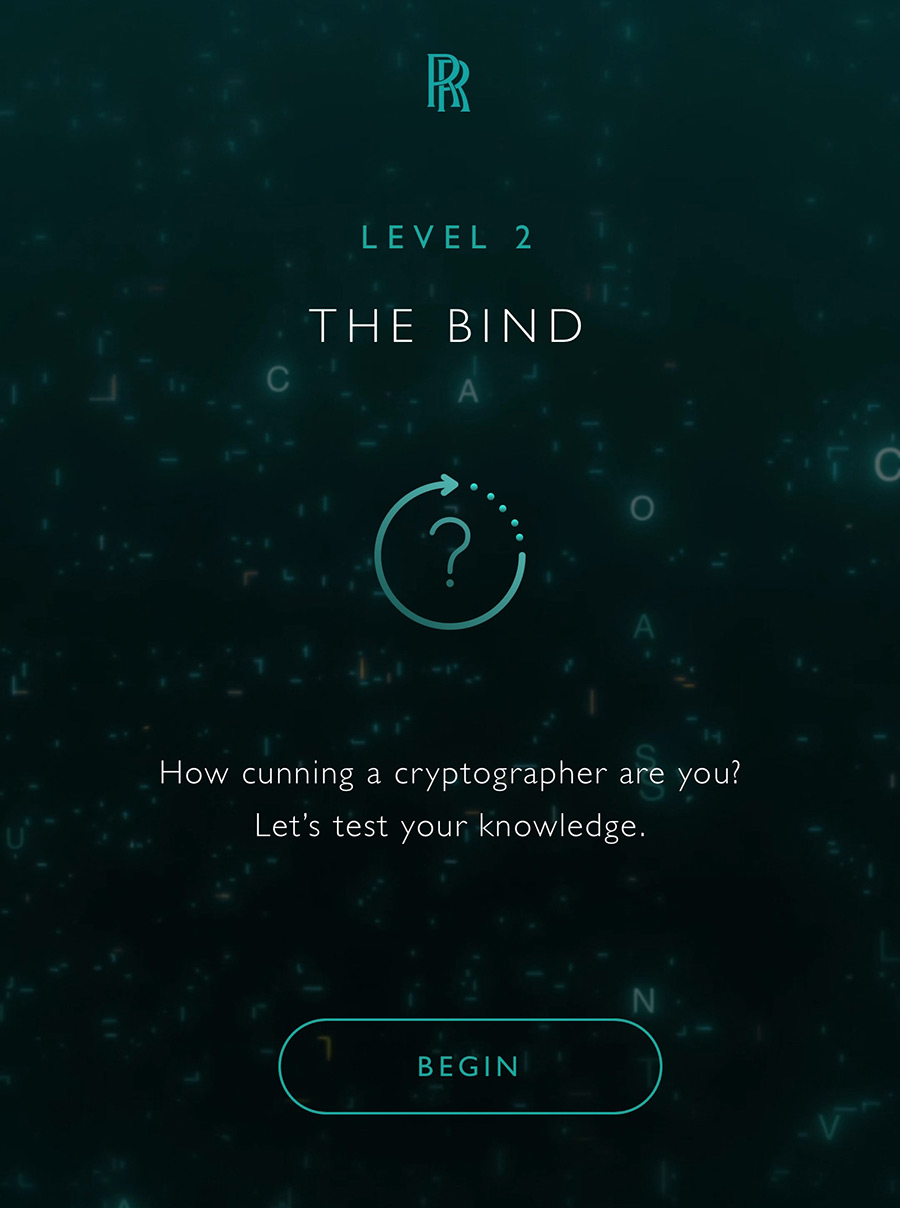 Rolls-Royce Wraith Kryptos Collection Interactive Game