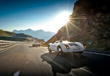 Dr. Wolfgang Porsche son Ferdinand and Porsche 550 Spyder on Großglockner High Alpine Road