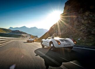 Dr. Wolfgang Porsche son Ferdinand and Porsche 550 Spyder on Großglockner High Alpine Road