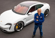 Apollo 16 Pilot Charlie Duke drives a Porsche Taycan