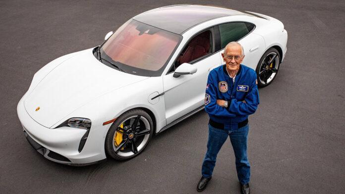 Apollo 16 Pilot Charlie Duke drives a Porsche Taycan