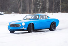 The Volvo P1800 Cyan in northern Sweden