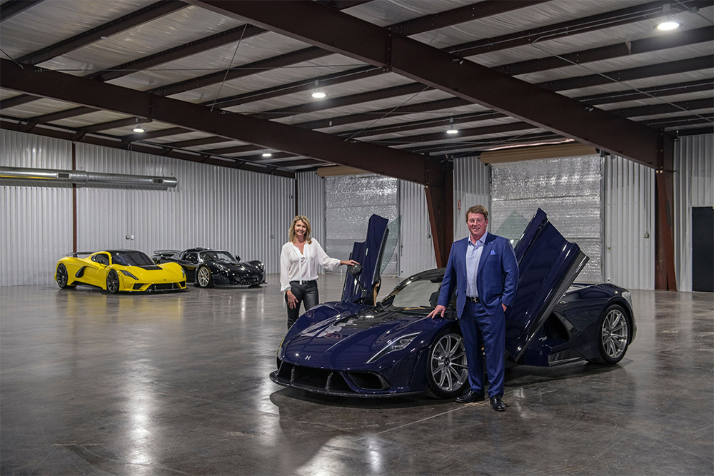 John and Hope Hennessey celebrate the Venom F5 in Sealy, Texas