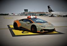 Bologna Airport Lamborghini Huracán EVO follow-me car