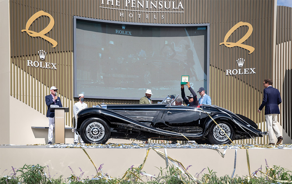 Rolex Best of Show to 1938 Mercedes-Benz 540K Special Roadster at The Quail, A Motorsports Gathering