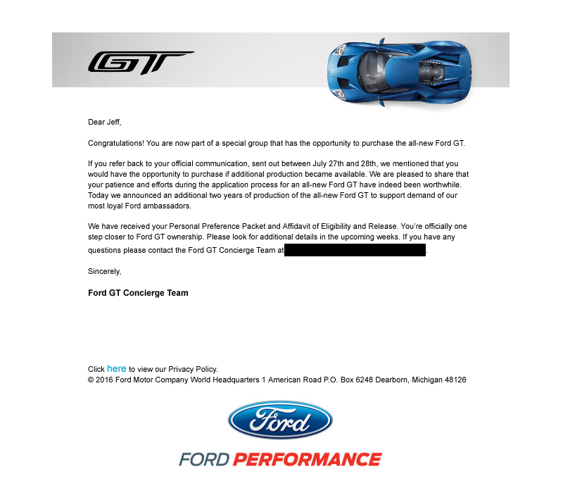 In The Future We Will Offer You An Inside Look At Our Interaction With The Ford Gt Concierge Team And The Ordering Process More Information As It Becomes