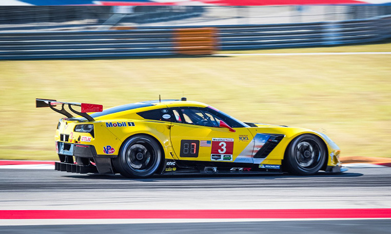 Corvette racing survives first lap crash to win sportscar for Watkins motor lines tracking
